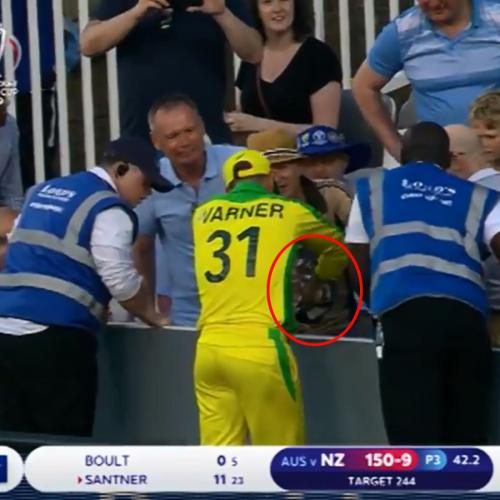 Dave Warner Looks For Lost Ball, Eats Fan's Chips Instead