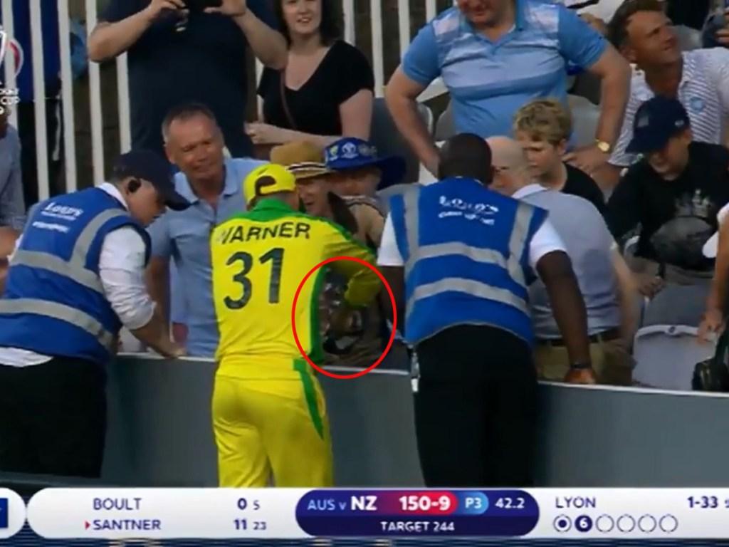 Australian Cricketer David Warner eats fan's chips