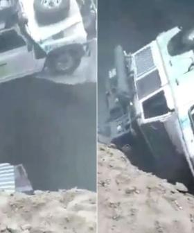 Aussie Family's Mad Scramble To Escape 4WD As It Falls Into Sinkhole