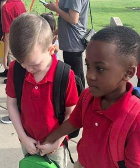 Photo Of 8-Year-Old Consoling Upset Autistic Boy On First Day Of School Goes Viral