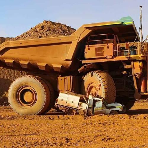 Massive Haul Truck Absolutely Flattens Ute At WA Minesite