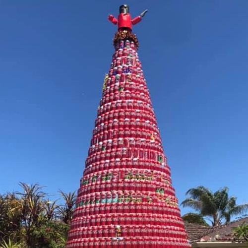 A Heckin' Massive Red Can Christmas Tree Went Up In Suburban Perth