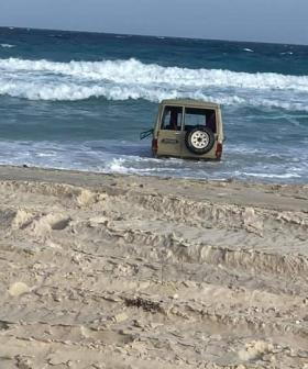 Before-And-After Photos Of Stranded 4WD Shows How The Sea Takes No Prisoners