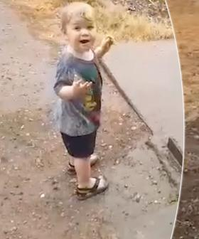 Aussie Toddler Dances As He Sees Rain For The First Time