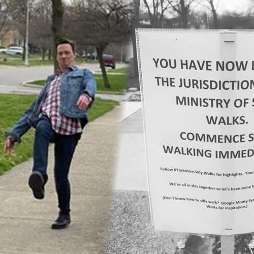 Family Puts Up Sign Along Footpath Saying 'Commence Silly Walking' And People Followed