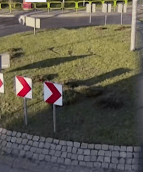 The INSANE Moment A Car is Captured Flying Over A Roundabout