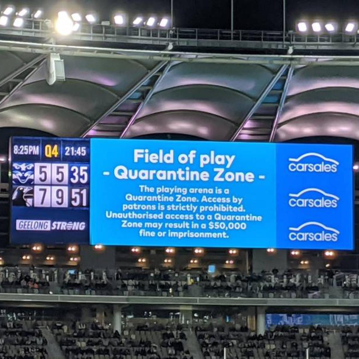 Optus Stadium Streaker Facing Two Week Quarantine And Massive Fine