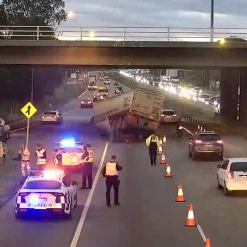 Early Morning Traffic Chaos As Truck Crashes Into Bridge Overpass On Tonkin Highway