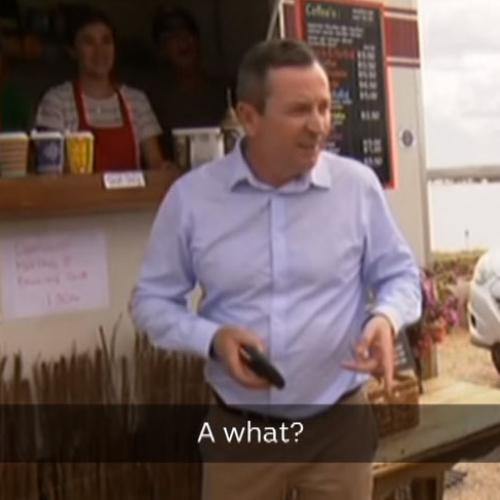 Not Even Mark McGowan Can Avoid THAT Person When Shouting Coffee