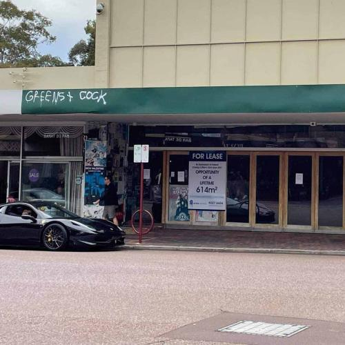 Leederville's Iconic 'Greens & Cock' Tag Has Mysteriously Re-Appeared On Empty Shopfront