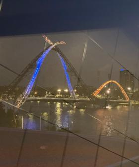 Matagarup Bridge Lit Up In Eagles Colours... Despite Dockers Win Over Tigers