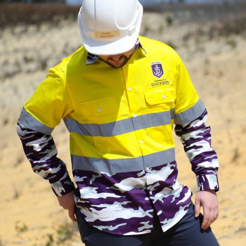 This Absolute Crime Of A Hi-Vis Camo Shirt By The Freo Dockers Is Actually Peak WA